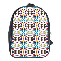 Colorful Dots Pattern School Bag (xl) by LalyLauraFLM