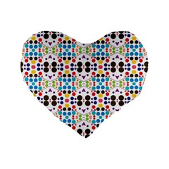 Colorful Dots Pattern Standard 16  Premium Heart Shape Cushion  by LalyLauraFLM