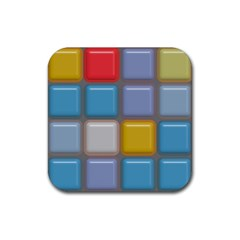 Shiny Squares Pattern Rubber Coaster (square) by LalyLauraFLM