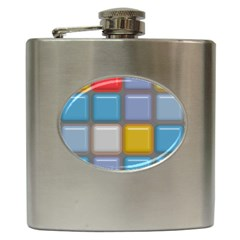 Shiny Squares Pattern Hip Flask (6 Oz) by LalyLauraFLM
