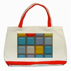 Shiny Squares Pattern Classic Tote Bag (red) by LalyLauraFLM