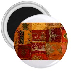 India Print Realism Fabric Art 3  Magnets by TheWowFactor
