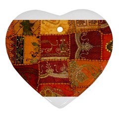 India Print Realism Fabric Art Heart Ornament (2 Sides) by TheWowFactor