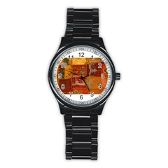India Print Realism Fabric Art Stainless Steel Round Watches by TheWowFactor