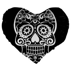 Skull Large 19  Premium Heart Shape Cushions