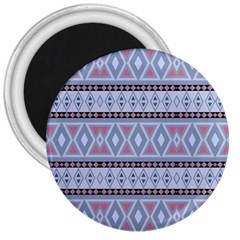 Fancy Tribal Border Pattern Blue 3  Magnets
