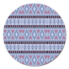 Fancy Tribal Border Pattern Blue Magnet 5  (round)