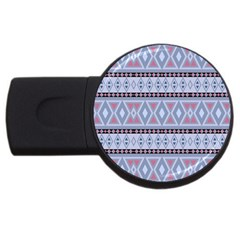 Fancy Tribal Border Pattern Blue Usb Flash Drive Round (2 Gb)  by ImpressiveMoments