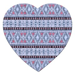 Fancy Tribal Border Pattern Blue Jigsaw Puzzle (heart) by ImpressiveMoments