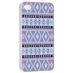Fancy Tribal Border Pattern Blue Apple Iphone 4/4s Seamless Case (white)