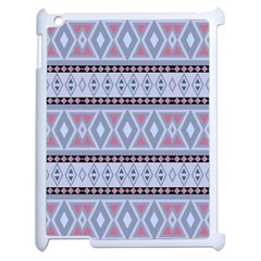 Fancy Tribal Border Pattern Blue Apple Ipad 2 Case (white) by ImpressiveMoments