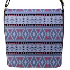 Fancy Tribal Border Pattern Blue Flap Messenger Bag (s)