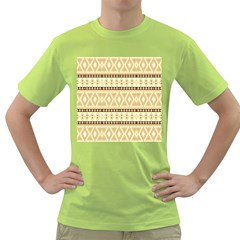 Fancy Tribal Border Pattern Beige Green T Shirt by ImpressiveMoments