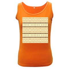 Fancy Tribal Border Pattern Beige Women s Dark Tank Tops