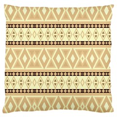 Fancy Tribal Border Pattern Beige Large Cushion Cases (one Side)  by ImpressiveMoments