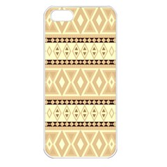 Fancy Tribal Border Pattern Beige Apple Iphone 5 Seamless Case (white) by ImpressiveMoments