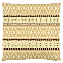 Fancy Tribal Border Pattern Beige Large Flano Cushion Cases (two Sides)