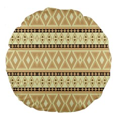 Fancy Tribal Border Pattern Beige Large 18  Premium Flano Round Cushions
