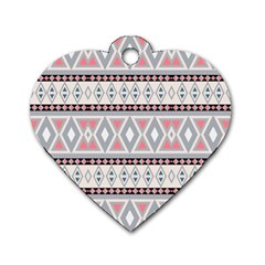 Fancy Tribal Border Pattern Soft Dog Tag Heart (two Sides)