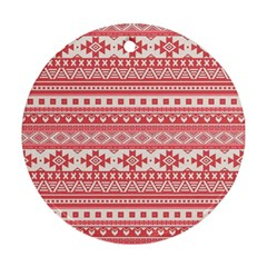 Fancy Tribal Borders Pink Round Ornament (two Sides)  by ImpressiveMoments