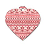 Fancy Tribal Borders Pink Dog Tag Heart (Two Sides) Front