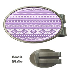 Fancy Tribal Borders Lilac Money Clips (oval)  by ImpressiveMoments