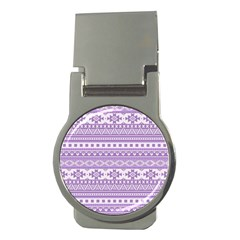 Fancy Tribal Borders Lilac Money Clips (round)