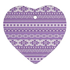 Fancy Tribal Borders Lilac Heart Ornament (2 Sides) by ImpressiveMoments