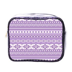 Fancy Tribal Borders Lilac Mini Toiletries Bags by ImpressiveMoments