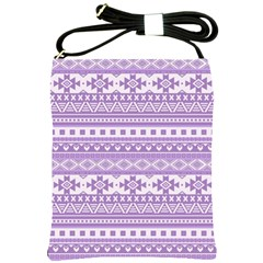 Fancy Tribal Borders Lilac Shoulder Sling Bags by ImpressiveMoments