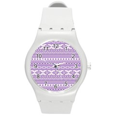 Fancy Tribal Borders Lilac Round Plastic Sport Watch (m)
