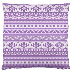Fancy Tribal Borders Lilac Large Cushion Cases (one Side)  by ImpressiveMoments