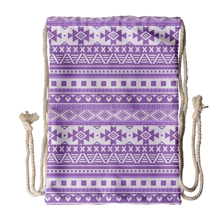 Fancy Tribal Borders Lilac Drawstring Bag (Large)