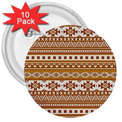 Fancy Tribal Borders Golden 3  Buttons (10 Pack)