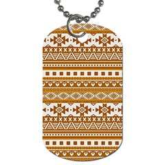 Fancy Tribal Borders Golden Dog Tag (one Side) by ImpressiveMoments