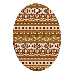 Fancy Tribal Borders Golden Oval Ornament (two Sides)