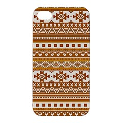Fancy Tribal Borders Golden Apple Iphone 4/4s Premium Hardshell Case by ImpressiveMoments