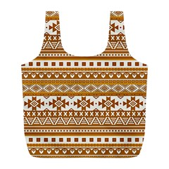 Fancy Tribal Borders Golden Full Print Recycle Bags (l)  by ImpressiveMoments
