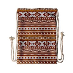 Fancy Tribal Borders Golden Drawstring Bag (small)