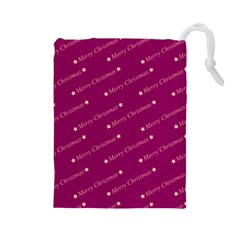 Merry Christmas,text,bordeaux Drawstring Pouches (large)  by ImpressiveMoments