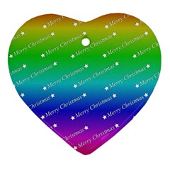 Merry Christmas,text,rainbow Heart Ornament (2 Sides) by ImpressiveMoments
