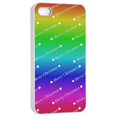 Merry Christmas,text,rainbow Apple Iphone 4/4s Seamless Case (white) by ImpressiveMoments