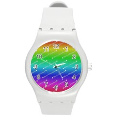 Merry Christmas,text,rainbow Round Plastic Sport Watch (m) by ImpressiveMoments