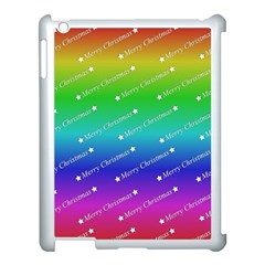 Merry Christmas,text,rainbow Apple Ipad 3/4 Case (white) by ImpressiveMoments