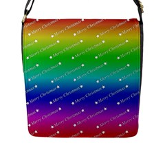 Merry Christmas,text,rainbow Flap Messenger Bag (l)  by ImpressiveMoments