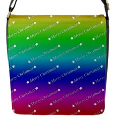 Merry Christmas,text,rainbow Flap Messenger Bag (s) by ImpressiveMoments