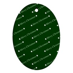 Merry Christmas,text,green Oval Ornament (two Sides)