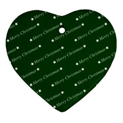 Merry Christmas,text,green Heart Ornament (2 Sides) by ImpressiveMoments