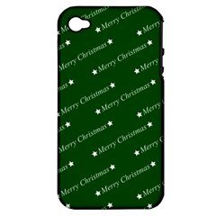 Merry Christmas,text,green Apple Iphone 4/4s Hardshell Case (pc+silicone) by ImpressiveMoments