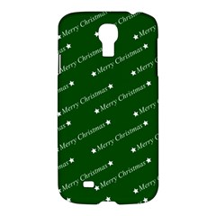 Merry Christmas,text,green Samsung Galaxy S4 I9500/i9505 Hardshell Case by ImpressiveMoments